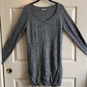 Gray long sleeve sweater with zippers